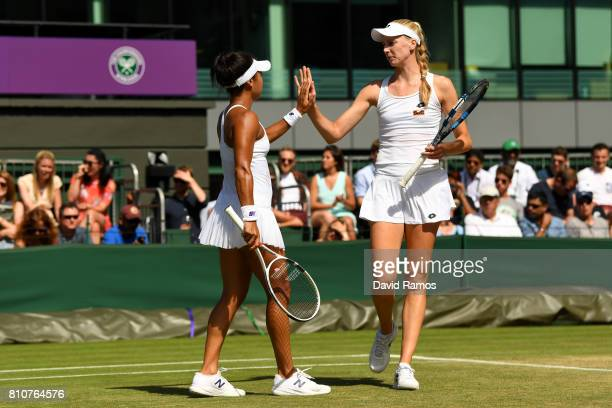 Heather Watson of Great Britain and Naomi Broady of Great Britain celebrate during the Ladies Doubles second round match against Kirsten Flipkens of...