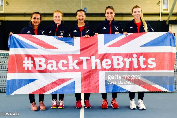 Heather Watson of Great Britain Anna Smith of Great Britain Anne Keothavong Great Britain head coach Johanna Konta of Great Britain and Katie Boulter...