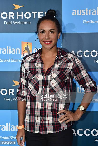 Heather Watson of Great Britain arrives at the 2016 Australian Open Players Party at CLub Sofitel Lounge on January 15 2016 in Melbourne Australia