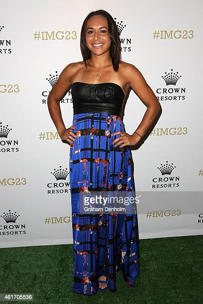 Heather Watson of Great Britain arrives for Crown's IMG@23 Tennis Players' Party at Crown Entertainment Complex on January 18 2015 in Melbourne...