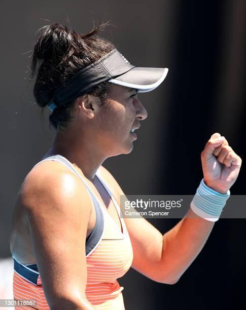 Heather Watson of Great Britain celebrates after winning a point in her Women's Singles first round match against Kristyna Pliskova of Czech Republic...