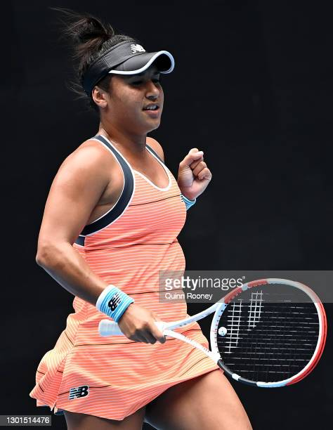 Heather Watson of Great Britain celebrates after winning a point in her Women's Singles second round match against Anett Kontaveit of Estonia during...