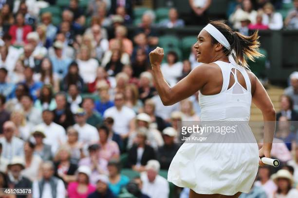 Heather Watson of Great Britain celebrates during her Ladies' Singles second round match against Angelique Kerber of Germany on day four of the...