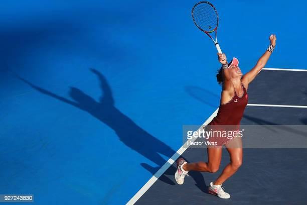 Heather Watson of Great Britain celebrates during the doubles Championship match between Tatjana Maria of Germany with Heather Watson of Great...