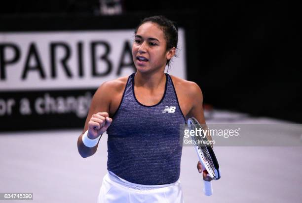Heather Watson of Great Britain celebrates during the Fed Cup Europe/Africa Group 1 Promotional Playoff SemiFinal match against Croatia at the...