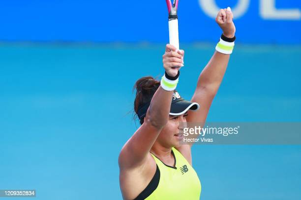 Heather Watson of Great Britain celebrates during the singles match between Heather Watson of Great Britain and Xiyu Wang of China as part of the ATP...