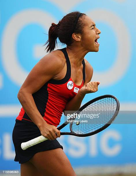 Heather Watson of Great Britain celebrates her win during her match against Misaki Doi of Japan during the third day of the AEGON Classic at the...
