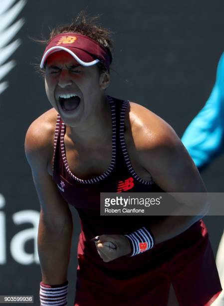 Heather Watson of Great Britain celebrates her win over Donna Vekic of Croatia at the 2018 Hobart International at Domain Tennis Centre on January 11...