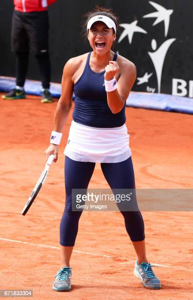 Heather Watson of Great Britain celebrates in her singles match against IrinaCamelia Begu of Romania during day 2 of the Fed Cup World Group II Play...