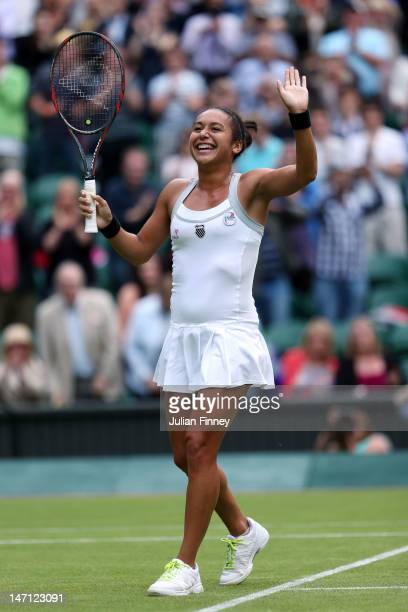 Heather Watson of Great Britain celebrates match point during her ladies' singles first round match against Iveta Benesova of Czech Republic on day...