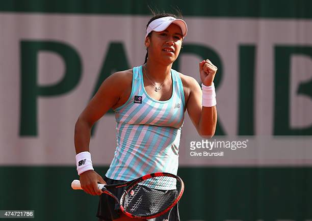 Heather Watson of Great Britain celebrates match point in her Women's Singles match against Mathilde Johansson of France on day two of the 2015...