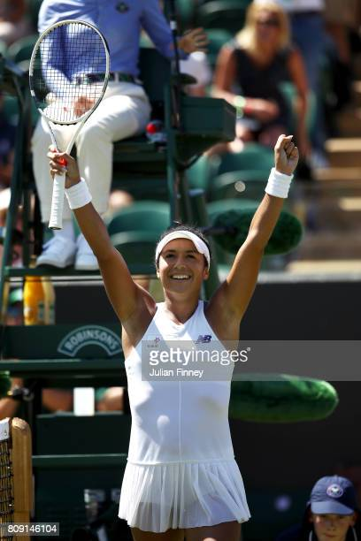Heather Watson of Great Britain celebrates victory after the Ladies Singles second round match against Anastasija Sevastova of Latvia on day three of...