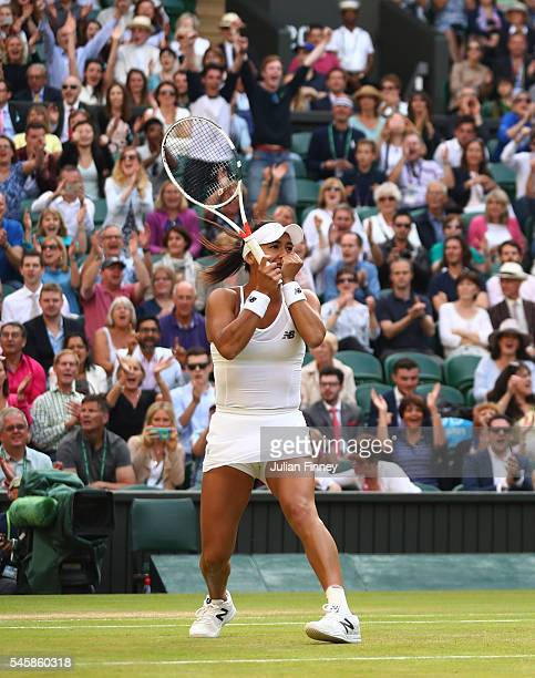 Heather Watson of Great Britain celebrates victory in the Mixed Doubles Final against Robert Farah of Columbia and Anna-Lena Groenefeld of Germany on...