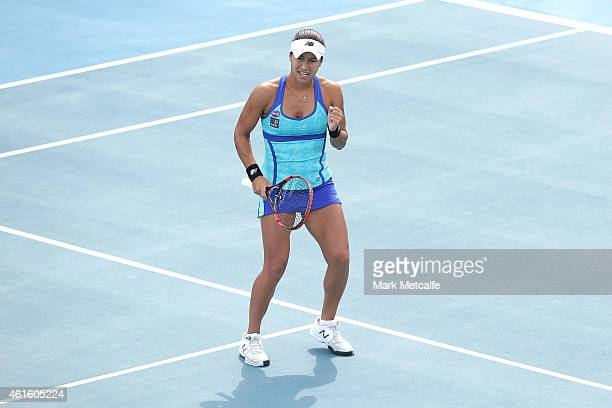 Heather Watson of Great Britain celebrates winning a point in her semi final match against Alison Riske of the USA during day six of the 2015 Hobart...