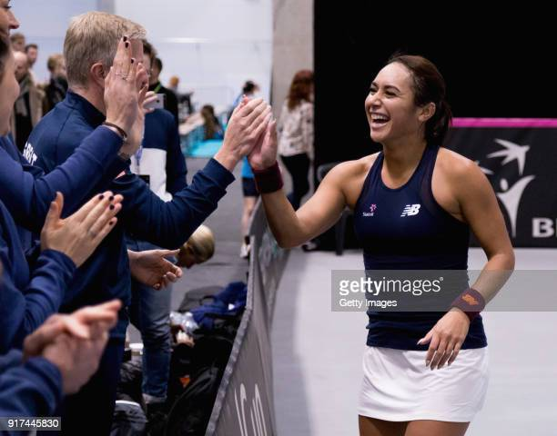 Heather Watson of Great Britain celebrates with team during the Europe/Africa Group B match of the Fed Cup by BNP Paribas between Heather Watson of...