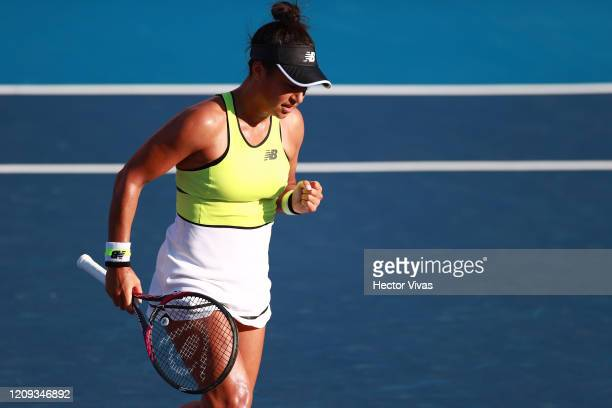 Heather Watson of Great Britain gestures during the singles match between Heather Watson of Great Britain and Xiyu Wang of China as part of the ATP...