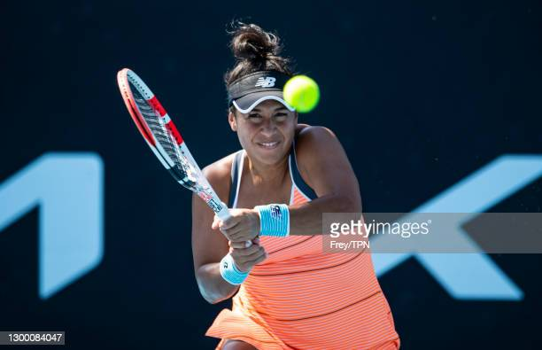 Heather Watson of Great Britain hits a backhand against Veronika Kudermetova of Russia during day one of the WTA 500 Grampians Trophy at Melbourne...