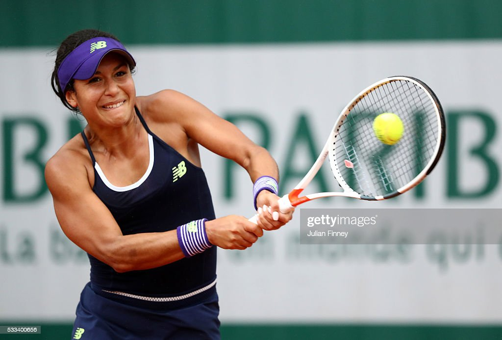 Heather Watson of Great Britain hits a backhand during the Ladies Singles first round match against Nicole Gibbs of the United States on day one of the 2016 French Open at Roland Garros on May 22, 2016 in Paris, France.