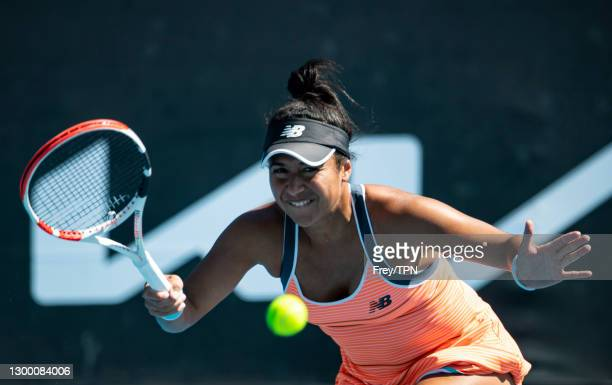 Heather Watson of Great Britain hits a forehand against against Veronika Kudermetova of Russia during day one of the WTA 500 Grampians Trophy at...