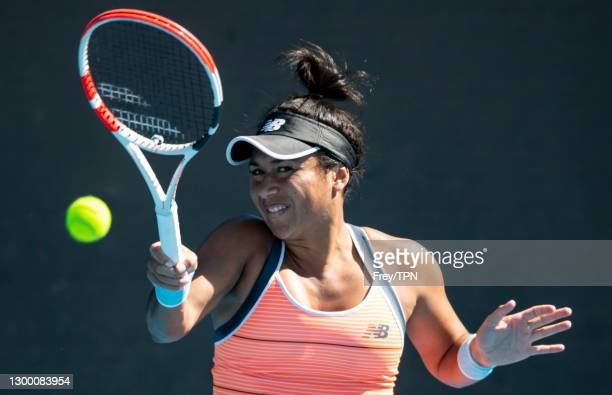 Heather Watson of Great Britain hits a forehand against Veronika Kudermetova of Russia during day one of the WTA 500 Grampians Trophy at Melbourne...
