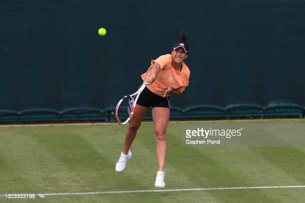 Heather Watson of Great Britain in a practice session during the Viking Classic Birmingham at Edgbaston Priory Club on June 13, 2021 in Birmingham,...