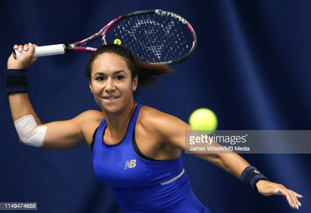 Heather Watson of Great Britain in action against Maria Sakkari of Greece during day three of the Nature Valley Open at Nottingham Tennis Centre on...