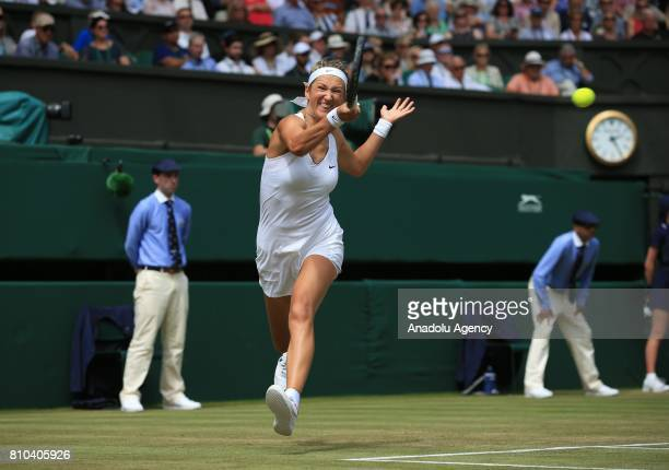 Heather Watson of Great Britain in action against Victoria Azarenka of Belarus on day five of the 2017 Wimbledon Championships at the All England...
