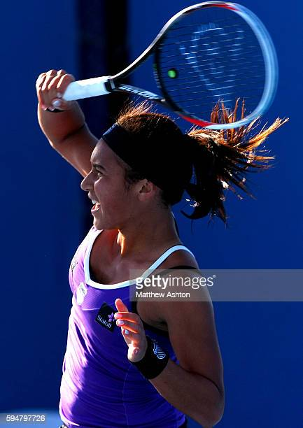 Heather Watson of Great Britain in action at the Australian Open 2013