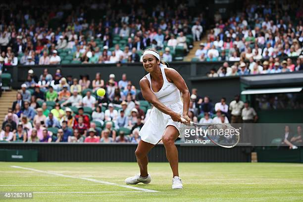 Heather Watson of Great Britain in action during her Ladies' Singles second round match against Angelique Kerber of Germany on day four of the...