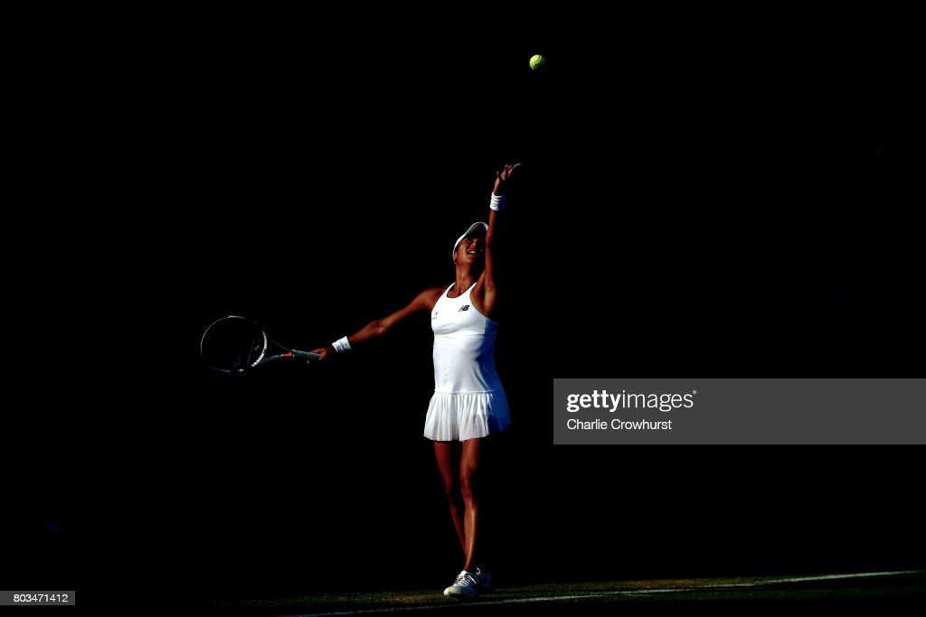 Heather Watson of Great Britain in action during her quarter final match against Barbara Strycova of Czech Republic during day five of the Aegon International Eastbourne on June 29, 2017 in Eastbourne, England.
