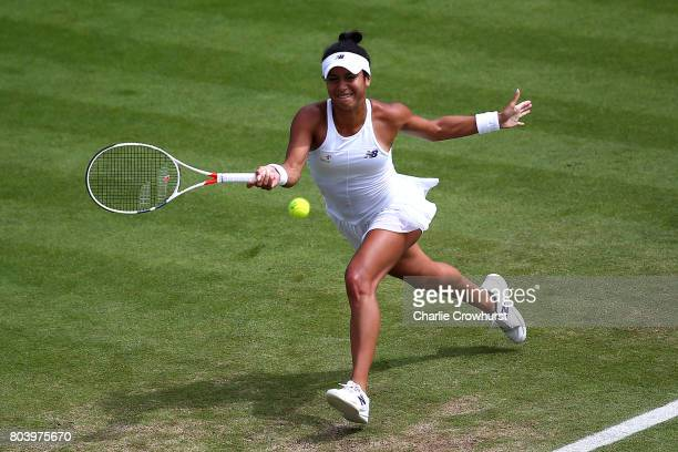 Heather Watson of Great Britain in action during her women's semi final match against Caroline Wozniacki of Denmark on day 6 of the Aegon...