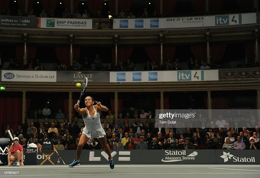Heather Watson of Great Britain in action during match against Mark Philippoussis of Australia and Anne Keothavong of Great Britain on Day Two of the Statoil Masters Tennis at the Royal Albert Hall on December 6, 2012 in London, England.