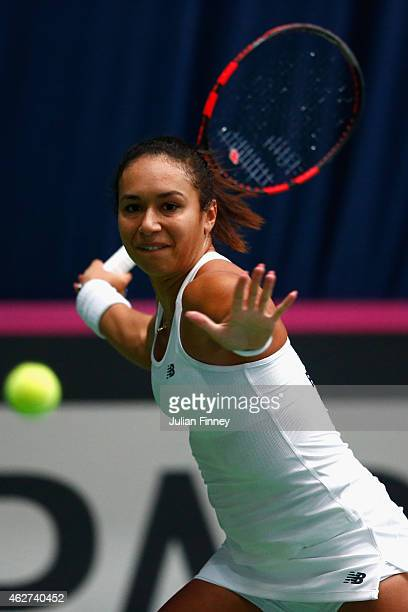 Heather Watson of Great Britain in acton against Stephanie Vogt of Liechtenstein during day one of the Fed Cup/Africa Group One tennis at Syma Event...