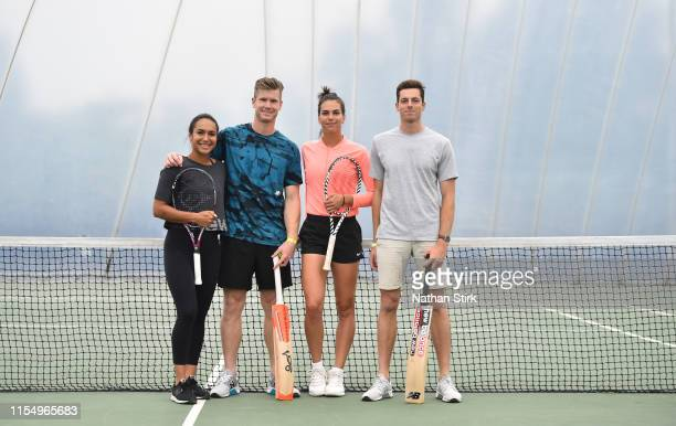 Heather Watson of Great Britain, James Neesham of New Zealand, Ajla Tomljanović of Croatia and Mitchell Santner of New Zealand pose for a photograph...