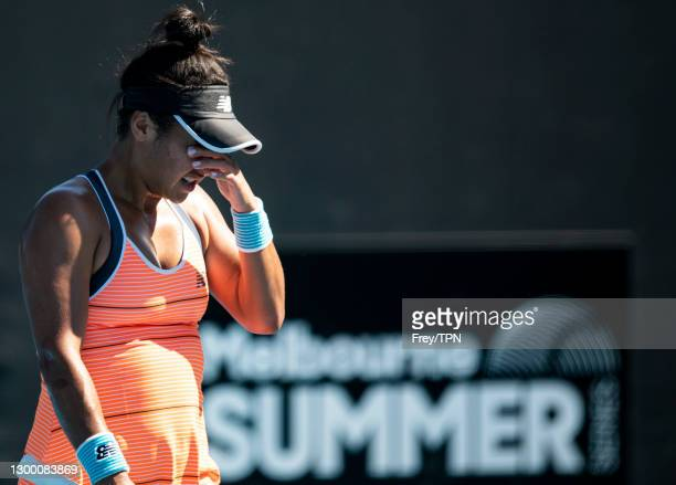 Heather Watson of Great Britain looks frustrated after losing her match against Veronika Kudermetova of Russia during day one of the WTA 500...