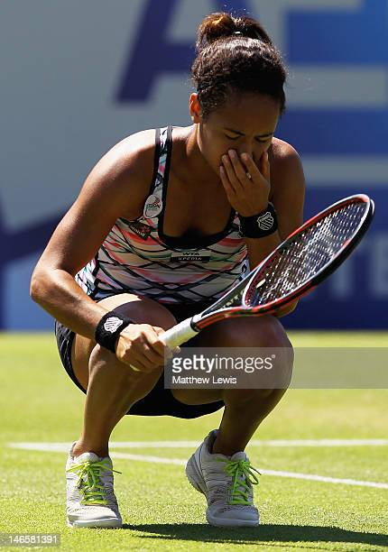 Heather Watson of Great Britain looks on during her match against Luci Safarova of the Czech Republic during day five of the AEGON International on...