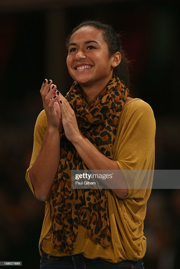 Heather Watson of Great Britain looks on during the ATP Champions Tour Final between Tim Henman of Great Britain and Fabrice Santoro of France during the Statoil Masters Tennis at Royal Albert Hall on December 9, 2012 in London, England.