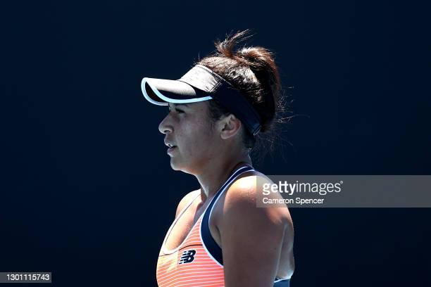 Heather Watson of Great Britain looks on in her Women's Singles first round match against Kristyna Pliskova of Czech Republic during day two of the...