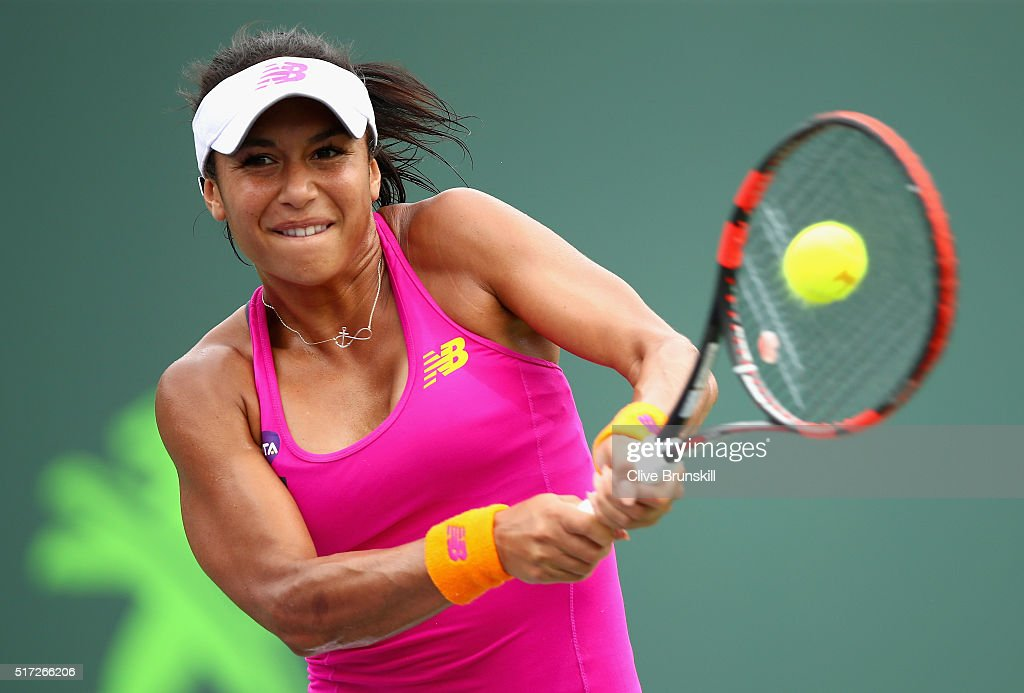 Heather Watson of Great Britain plays a backhand against Sloane Stephens of the United States in their second round match during the Miami Open Presented by Itau at Crandon Park Tennis Center on March 24, 2016 in Key Biscayne, Florida.