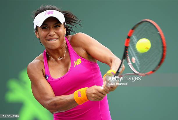 Heather Watson of Great Britain plays a backhand against Sloane Stephens of the United States in their second round match during the Miami Open...