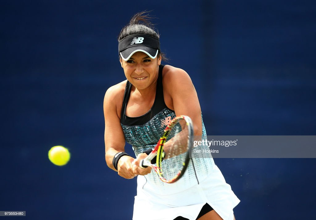 Heather Watson of Great Britain plays a backhand during her doubles match on during Day Five of the Nature Valley Open at Nottingham Tennis Centre on June 13, 2018 in Nottingham, United Kingdom.