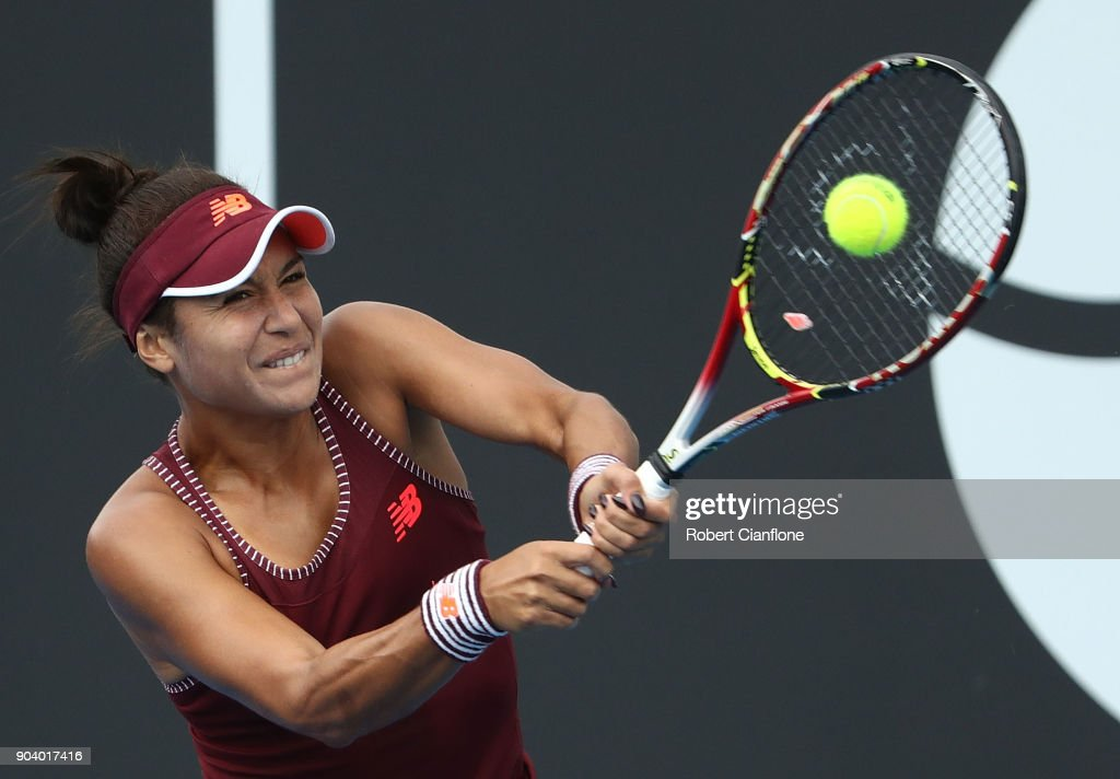 Heather Watson of Great Britain plays a backhand during her semi final singles match against Elise Mertens of Belgium during the 2018 Hobart International at Domain Tennis Centre on January 12, 2018 in Hobart, Australia.