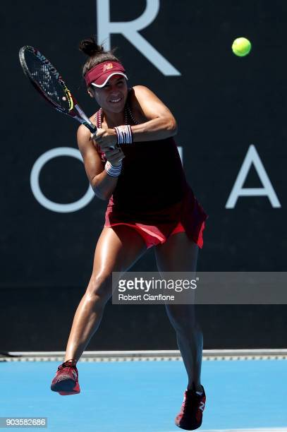 Heather Watson of Great Britain plays a backhand during her singles match against Donna Vekic of Croatia at the 2018 Hobart International at Domain...