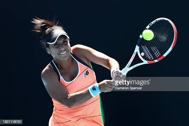 Heather Watson of Great Britain plays a backhand in her Women's Singles first round match against Kristyna Pliskova of Czech Republic during day two...
