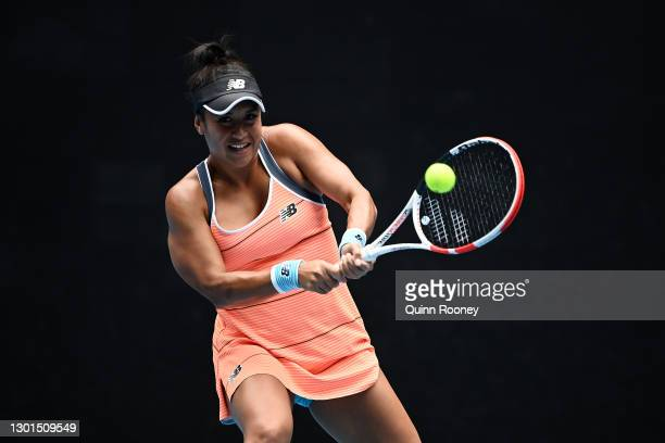 Heather Watson of Great Britain plays a backhand in her Women's Singles second round match against Anett Kontaveit of Estonia during day four of the...
