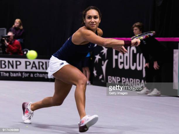 Heather Watson of Great Britain plays a backhand shot during the Europe/Africa Promotional PlayOff Semi Final match of the Fed Cup by BNP Paribas...
