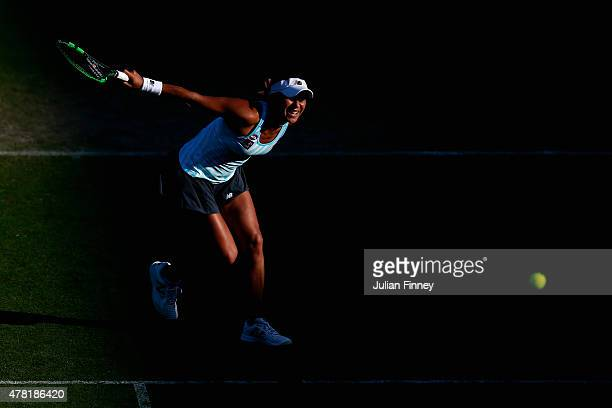 Heather Watson of Great Britain plays a backhand to Elina Svitolina of Ukraine during the Aegon International day three at Devonshire Park on June 23...