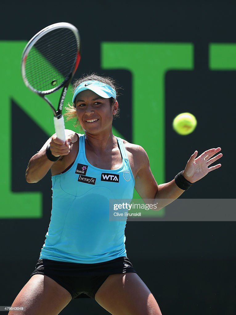 Heather Watson of Great Britain plays a forehand against of Virginie Razzano of France during their first round match during day 3 at the Sony Open at Crandon Park Tennis Center on March 19, 2014 in Key Biscayne, Florida.