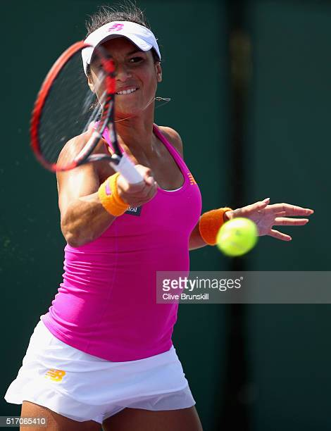Heather Watson of Great Britain plays a forehand against Petra Cetkovska of the Czech Republic in their first round match during the Miami Open...