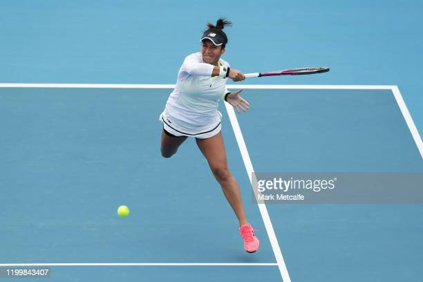 Heather Watson of Great Britain plays a forehand during her quarter final singles match against Elise Mertens of Belgium during day six of the 2020...